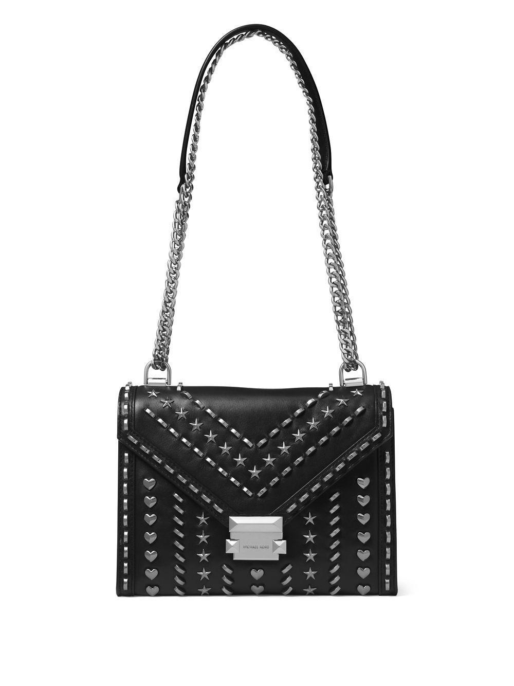 f752f6d8696a MICHAEL Michael Kors. Women s Black Whitney Studded Large Leather Shoulder  Bag
