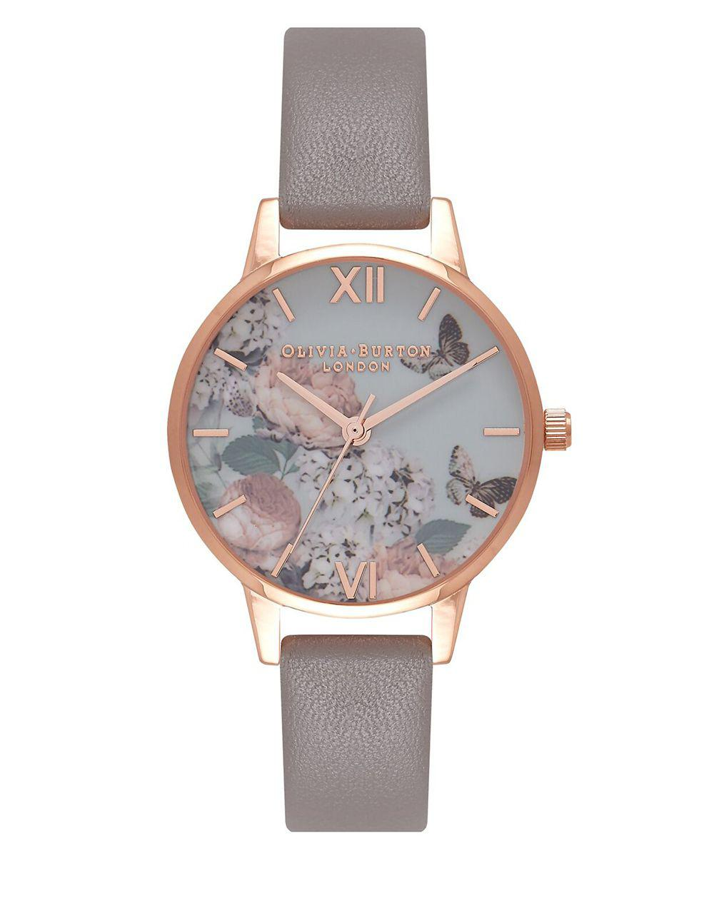 d4fe5bcfbbb Olivia Burton. Women s Gray Signature Florals Stainless Steel Leather Strap  Watch