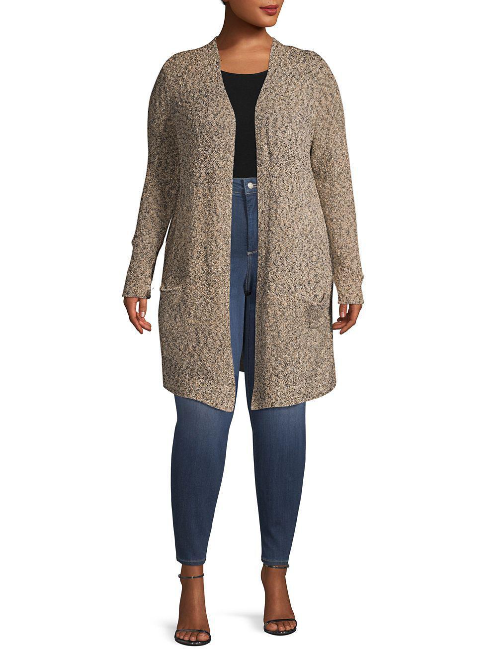 a02e5c0dd36 Lyst - Rafaella Plus Textured Open-front Cardigan in Natural