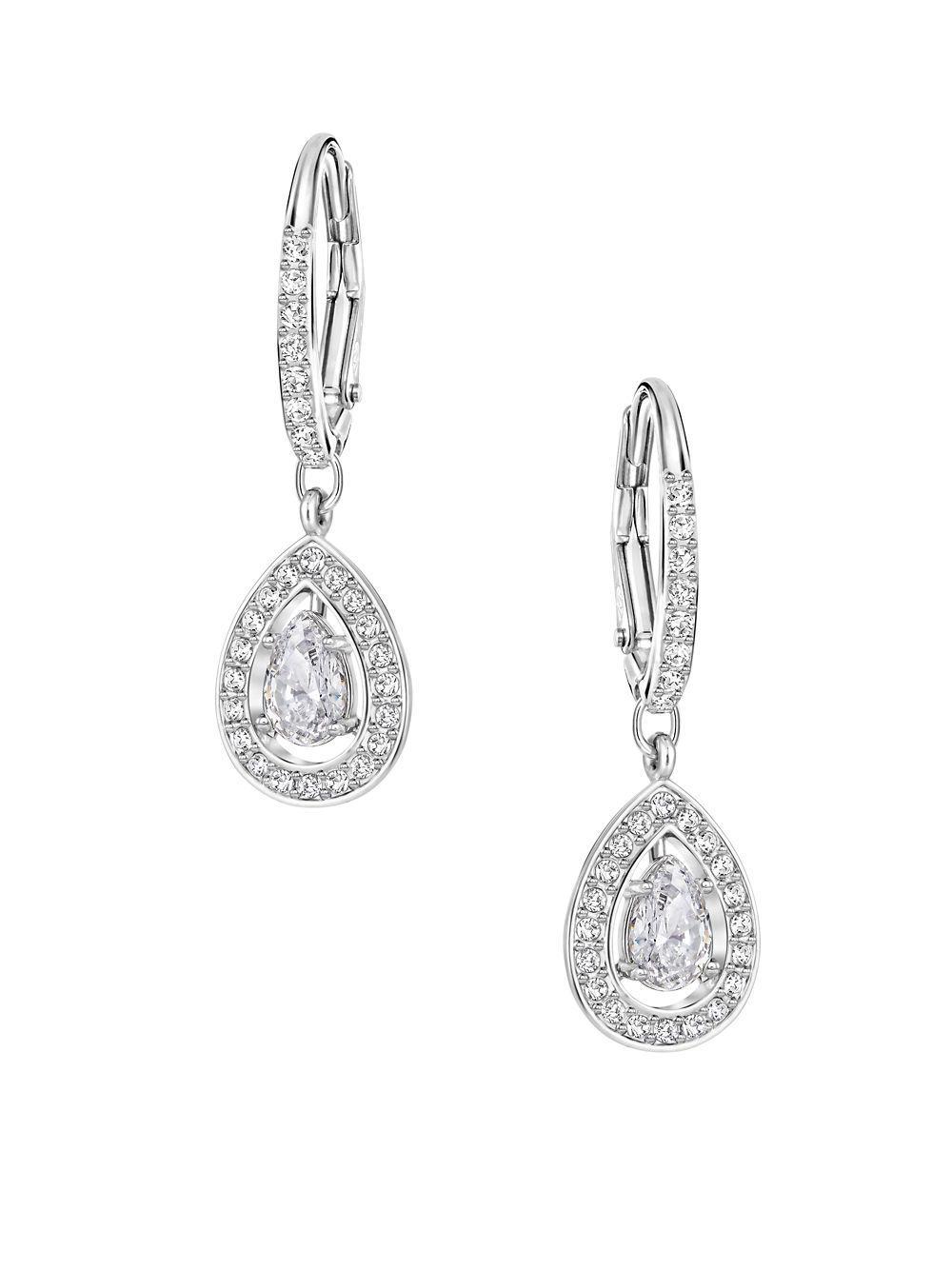 b31d4f53ac853 Swarovski Attract Light Pear Pierced Earrings in Metallic - Lyst