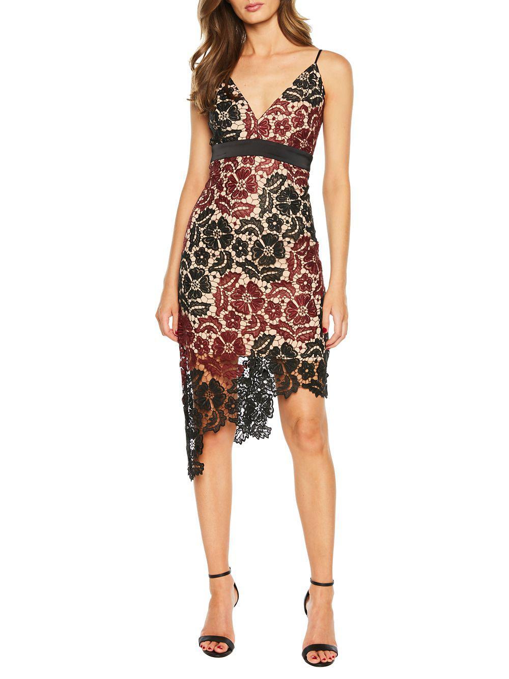Bardot Asymmetrical Lace Dress In Black Lyst