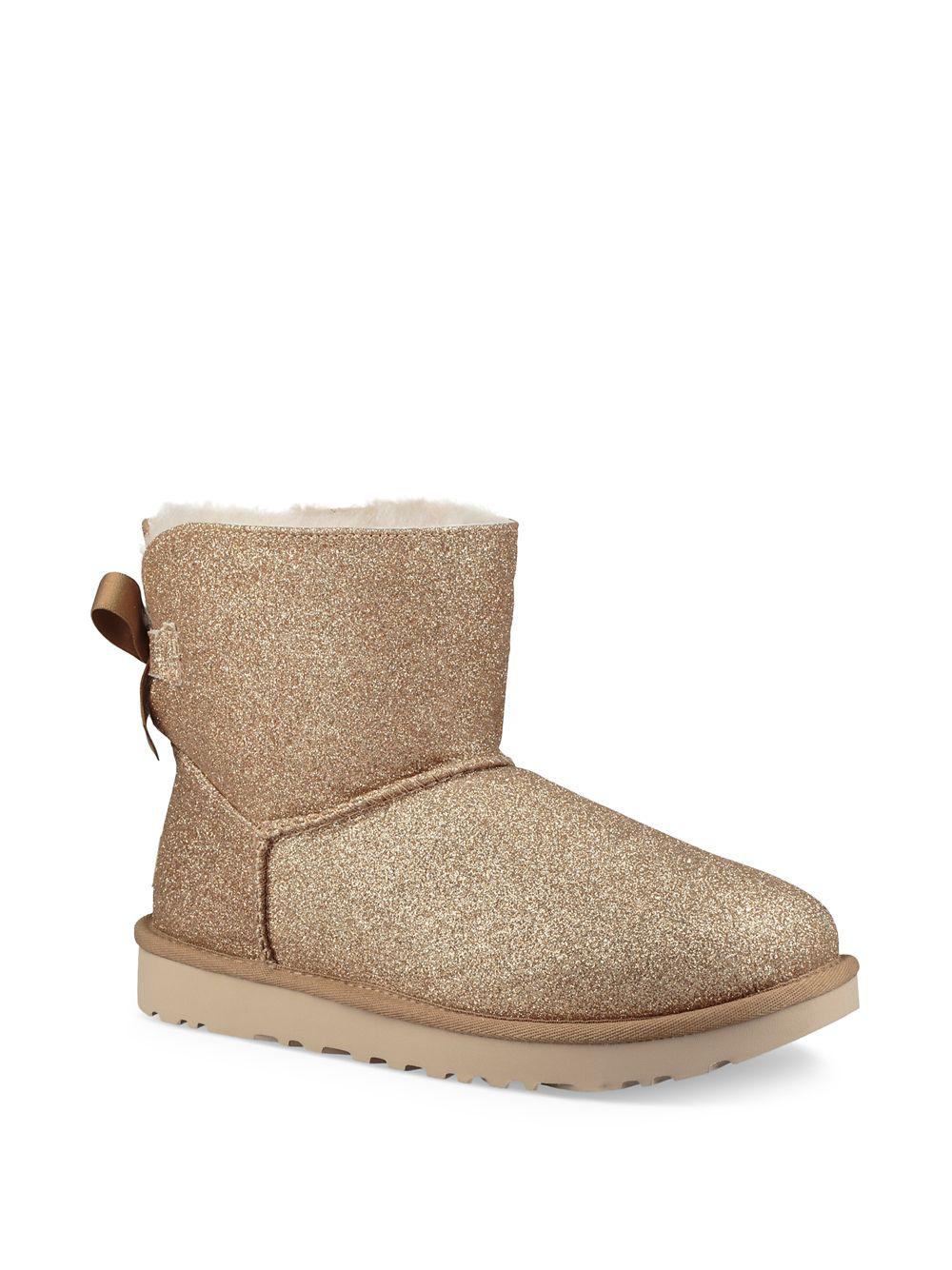 69aacaa4eee Ugg Metallic Mini Bailey Bow Sparkle Shearling Boots