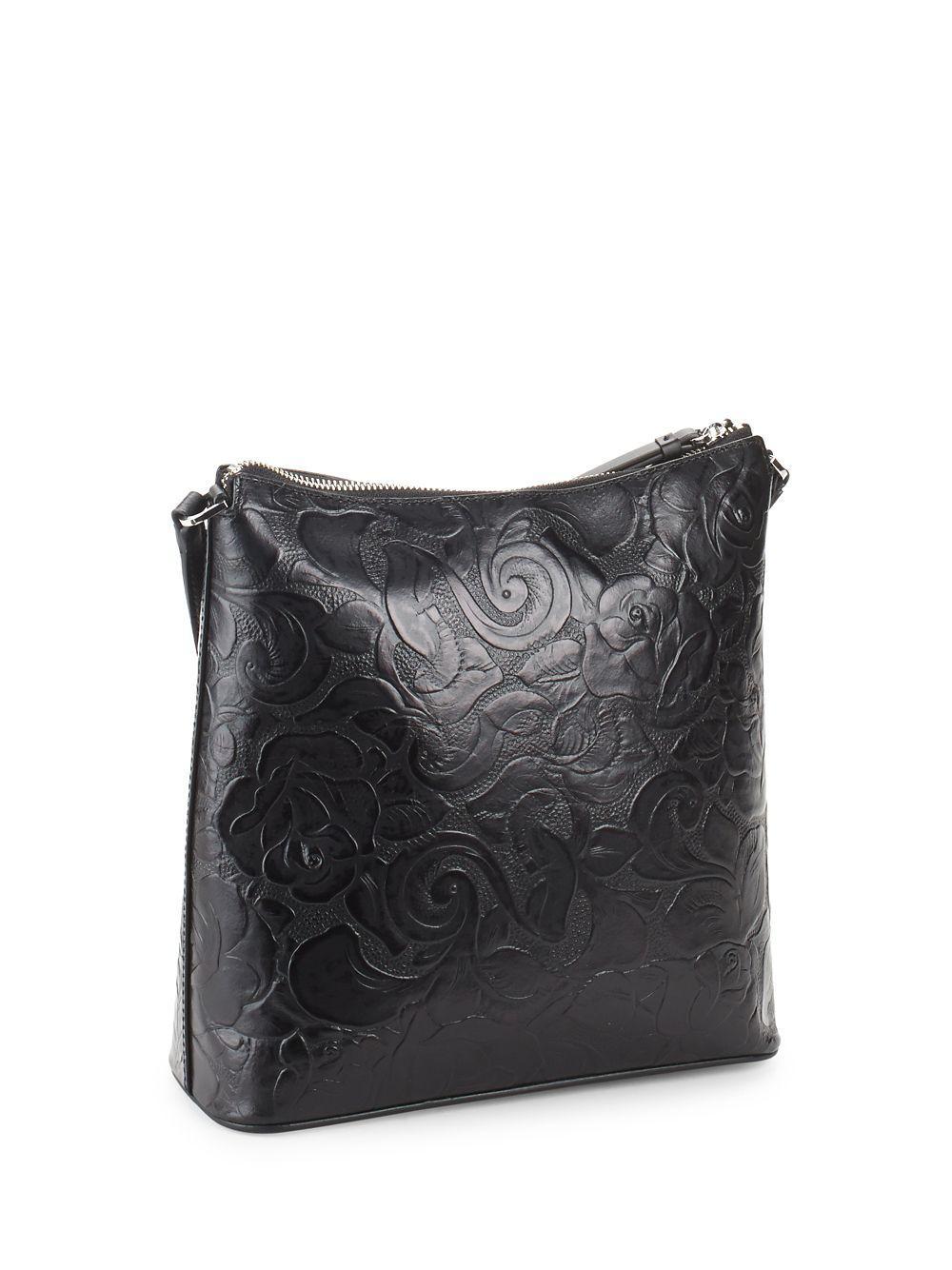 f292ed6f94 Calvin Klein Mara Floral-embossed Leather Crossbody Bag in Black - Lyst