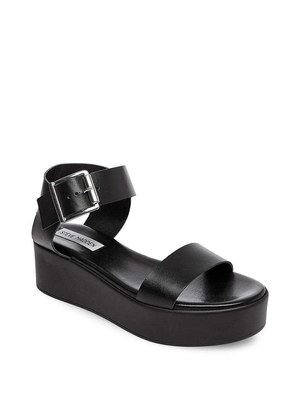b3a5dd9acf6 Steve Madden Black Recover Leather Platform Sandals