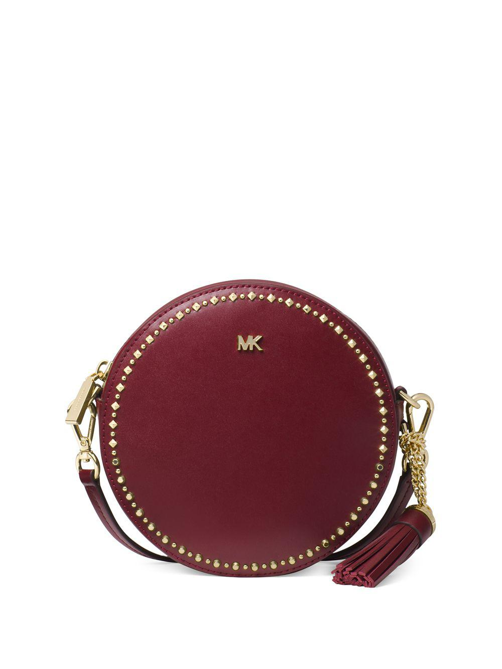 7ad976218fad MICHAEL Michael Kors. Women's Red Canteen Embellished Leather Circle  Crossbody Bag