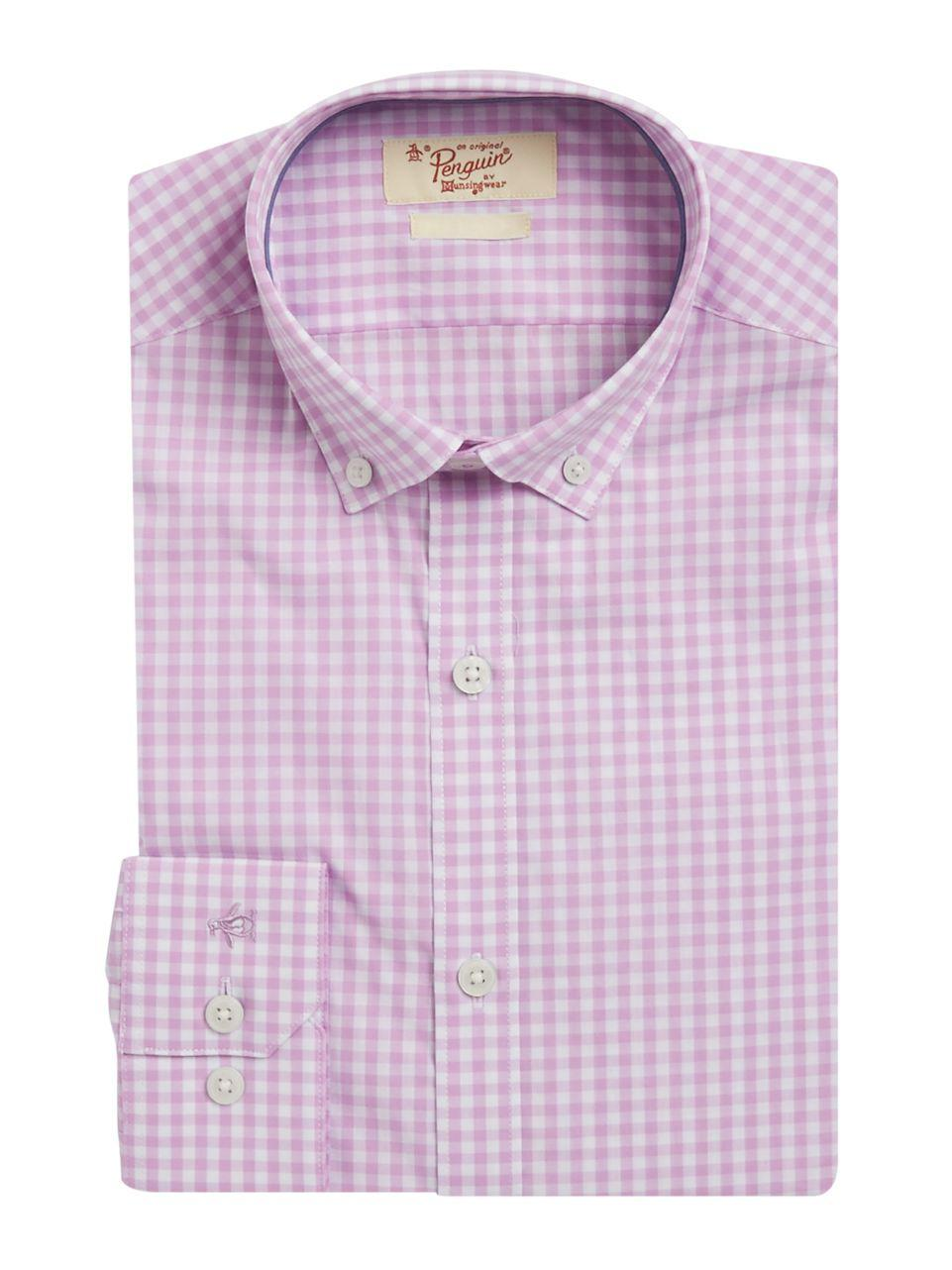 Lyst original penguin gingham dress shirt in pink for men for Pink checkered dress shirt