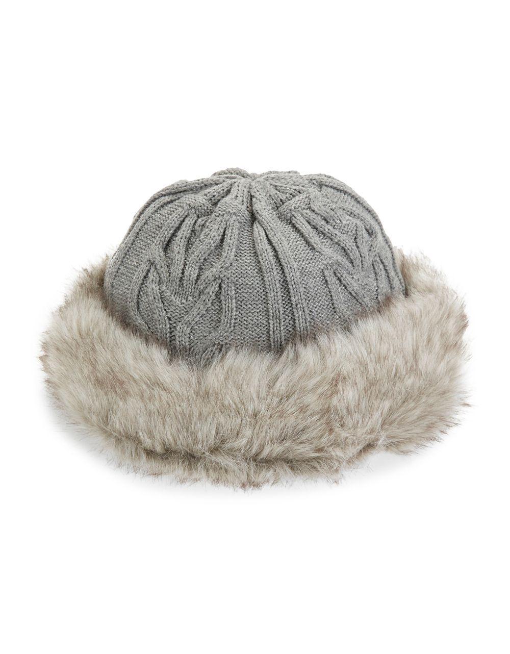 b49a09881 Parkhurst Gray Textured Faux Fur-trimmed Hat