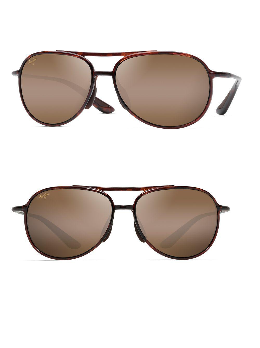 e3f70e47d2c Maui Jim 60mm Alele Bridge Tortoise Aviator Sunglasses in Brown for ...