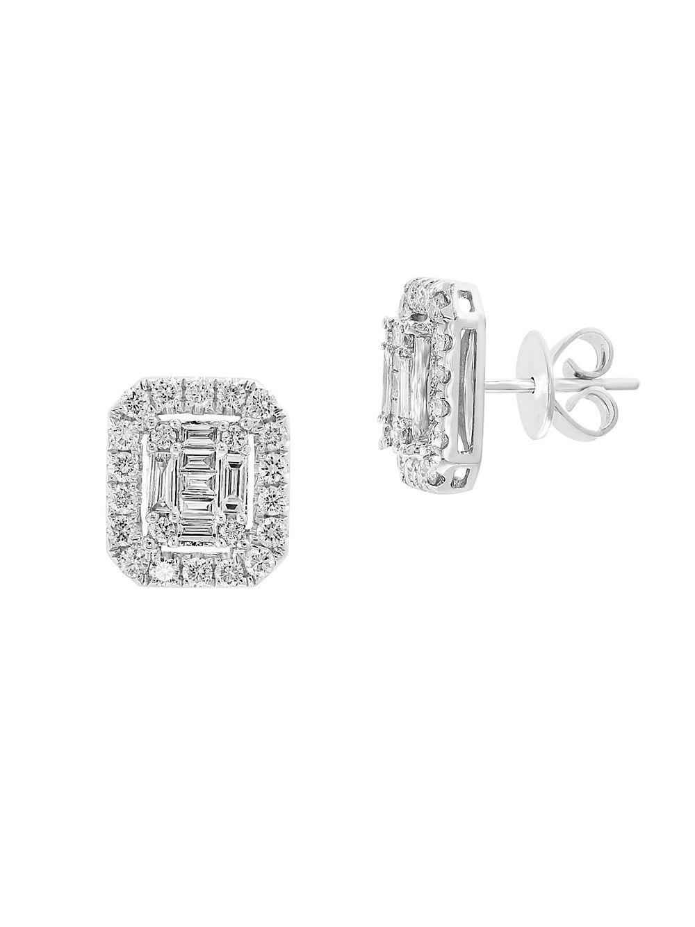 4791c4d174537e Lyst - Effy Diamond And 14k White Gold Stud Earrings in Metallic