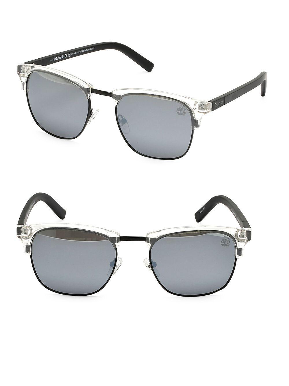 26dfbc70cb6 Timberland Polarized 55mm Soft Square Sunglasses in Black for Men - Lyst