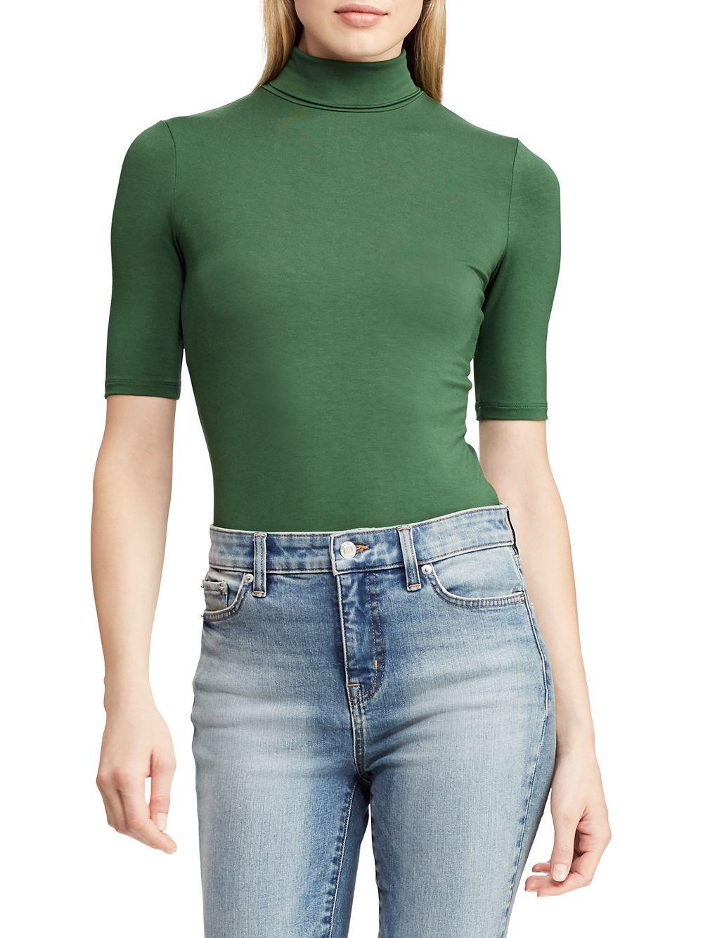 e3356d0b840b02 Lyst - Lauren By Ralph Lauren Knit Turtleneck Top in Green