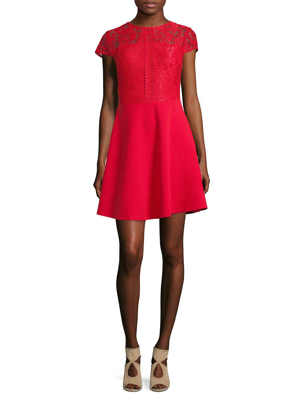 e89f701bdd Dorothy Perkins Cap-sleeve Lace Skater Dress in Pink - Lyst