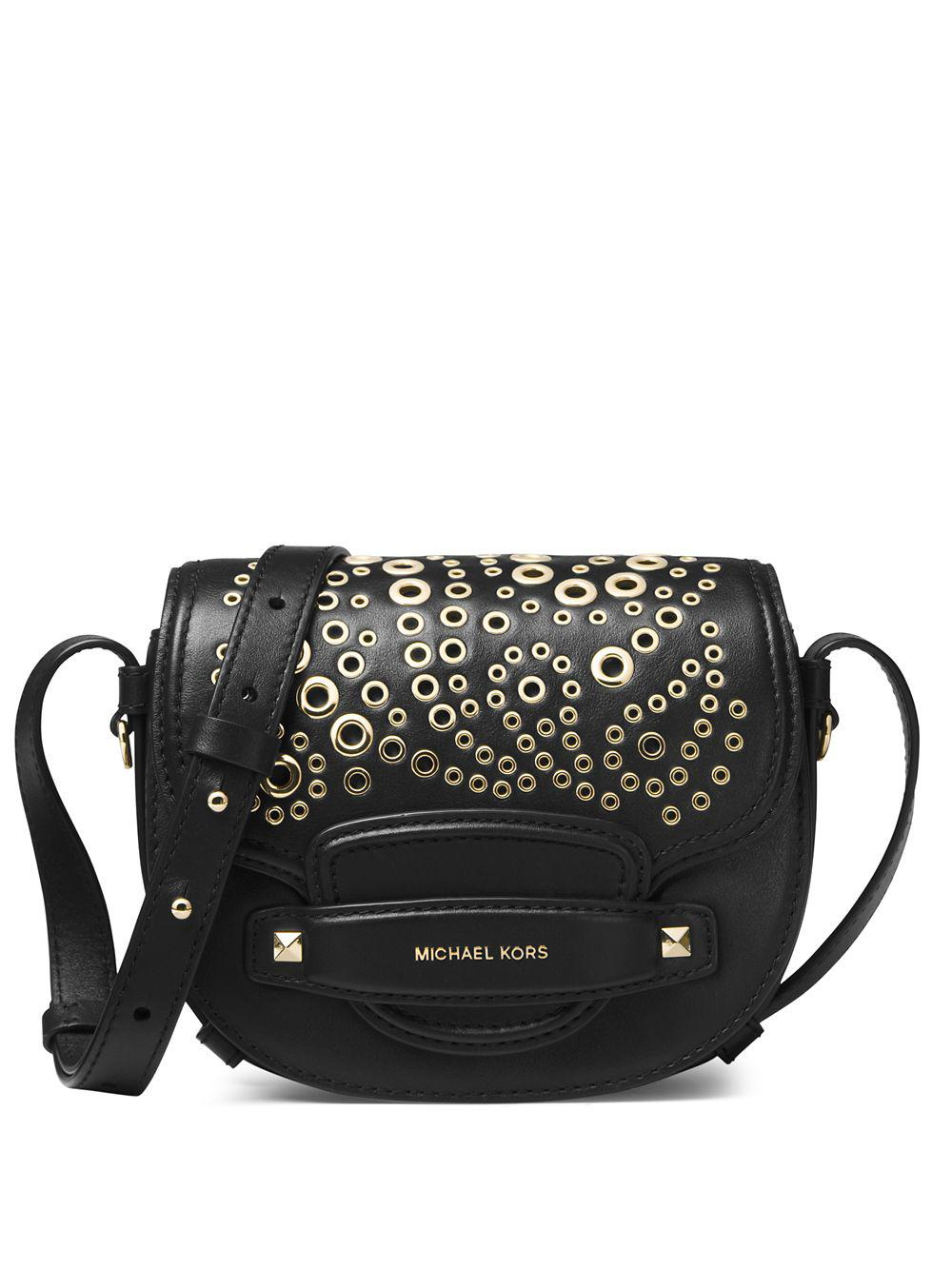 bc008515cb7d2 Michael Michael Kors Carysm Leather Saddle Crossbody Bag in Black - Lyst