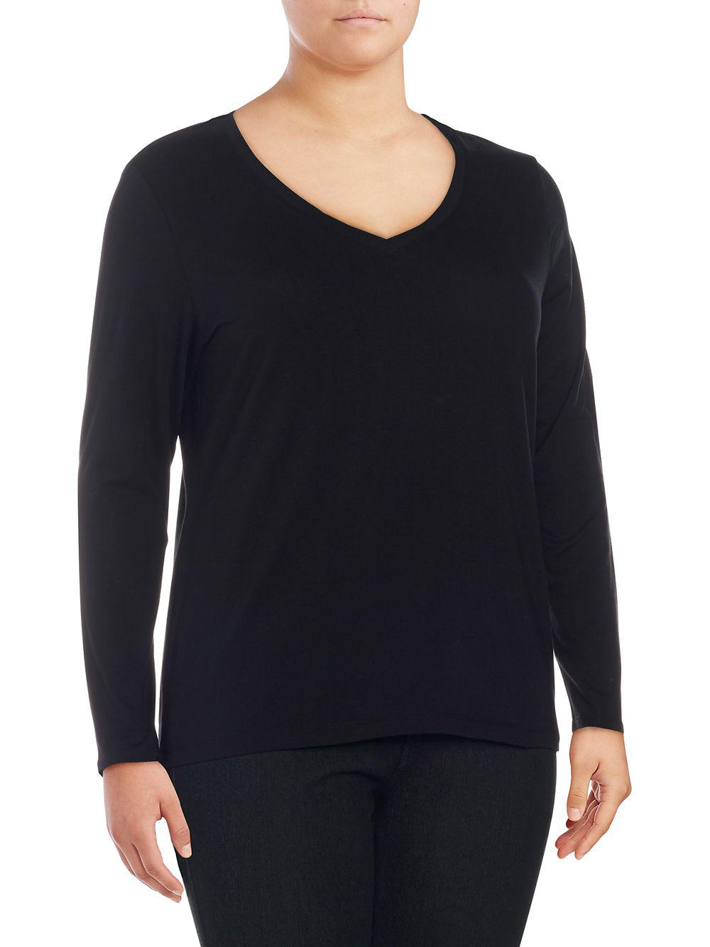 8d23f5bea78e9 Lyst - Lord   Taylor Plus Long-sleeve V-neck Tee in Black