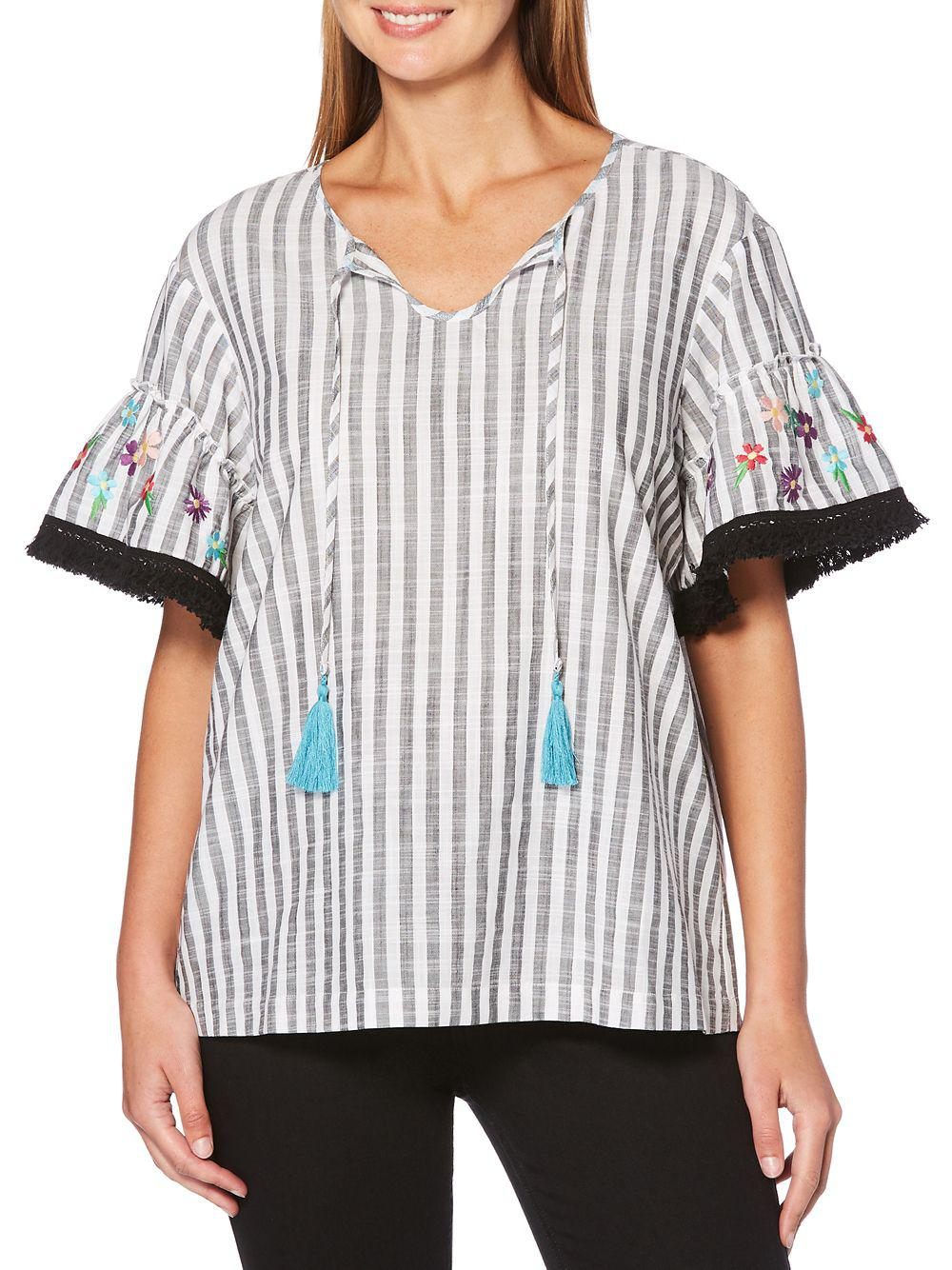 a05b852b7c7d6 Lyst - Rafaella Embroidered Striped Top in Black