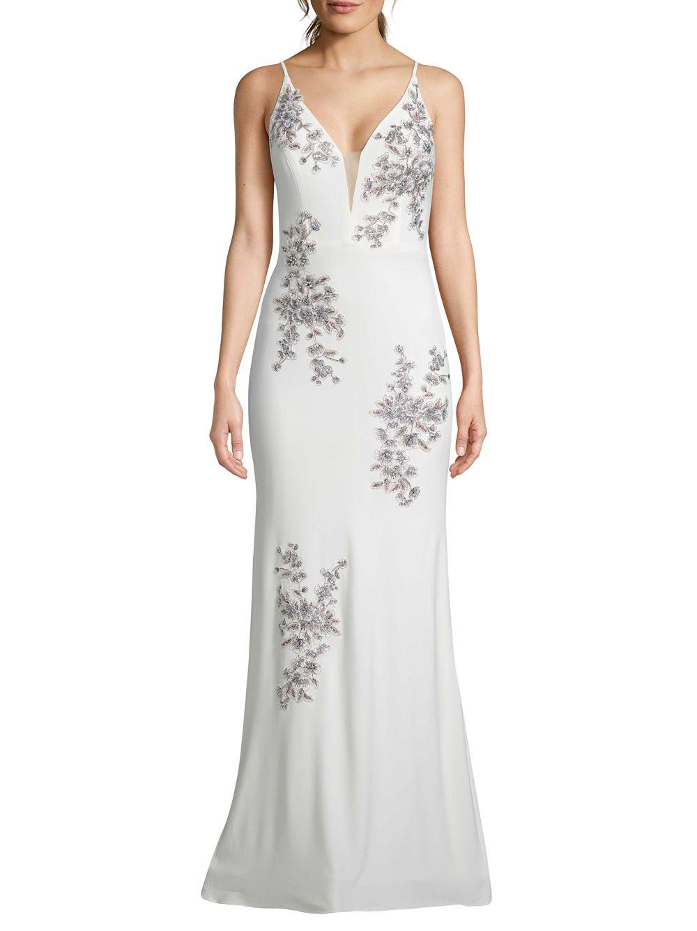 765c61ccf4b Xscape Embellished Floral Evening Gown in White - Save 43% - Lyst