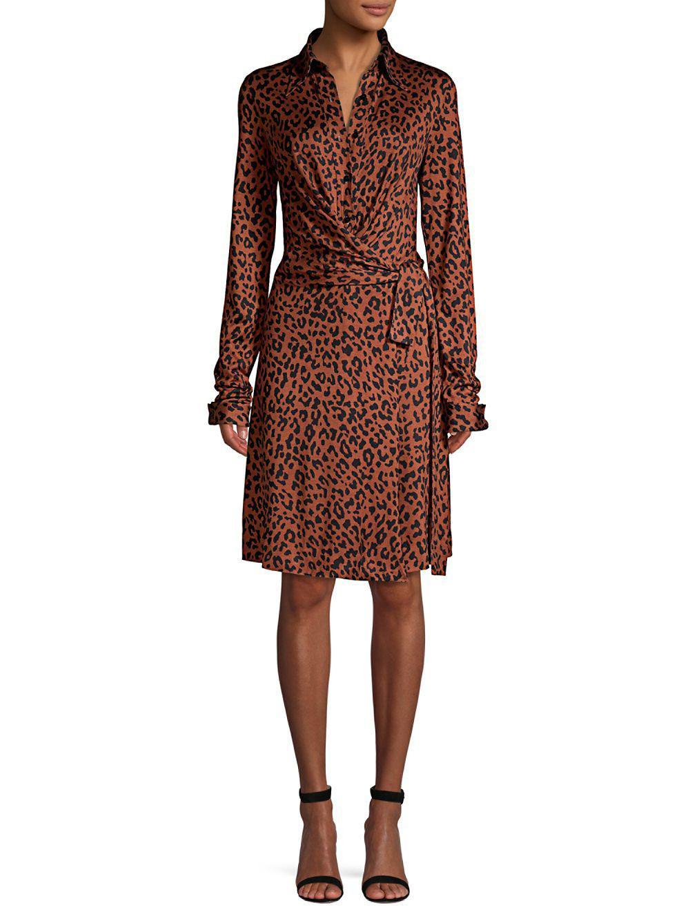 Diane Von Furstenberg Women S Brown Didi Leopard Print Wrap Dress