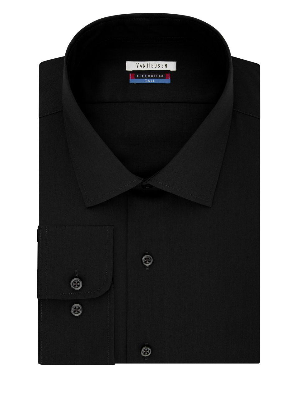 Lyst van heusen flex collar tall dress shirt in black for Tony collar dress shirt