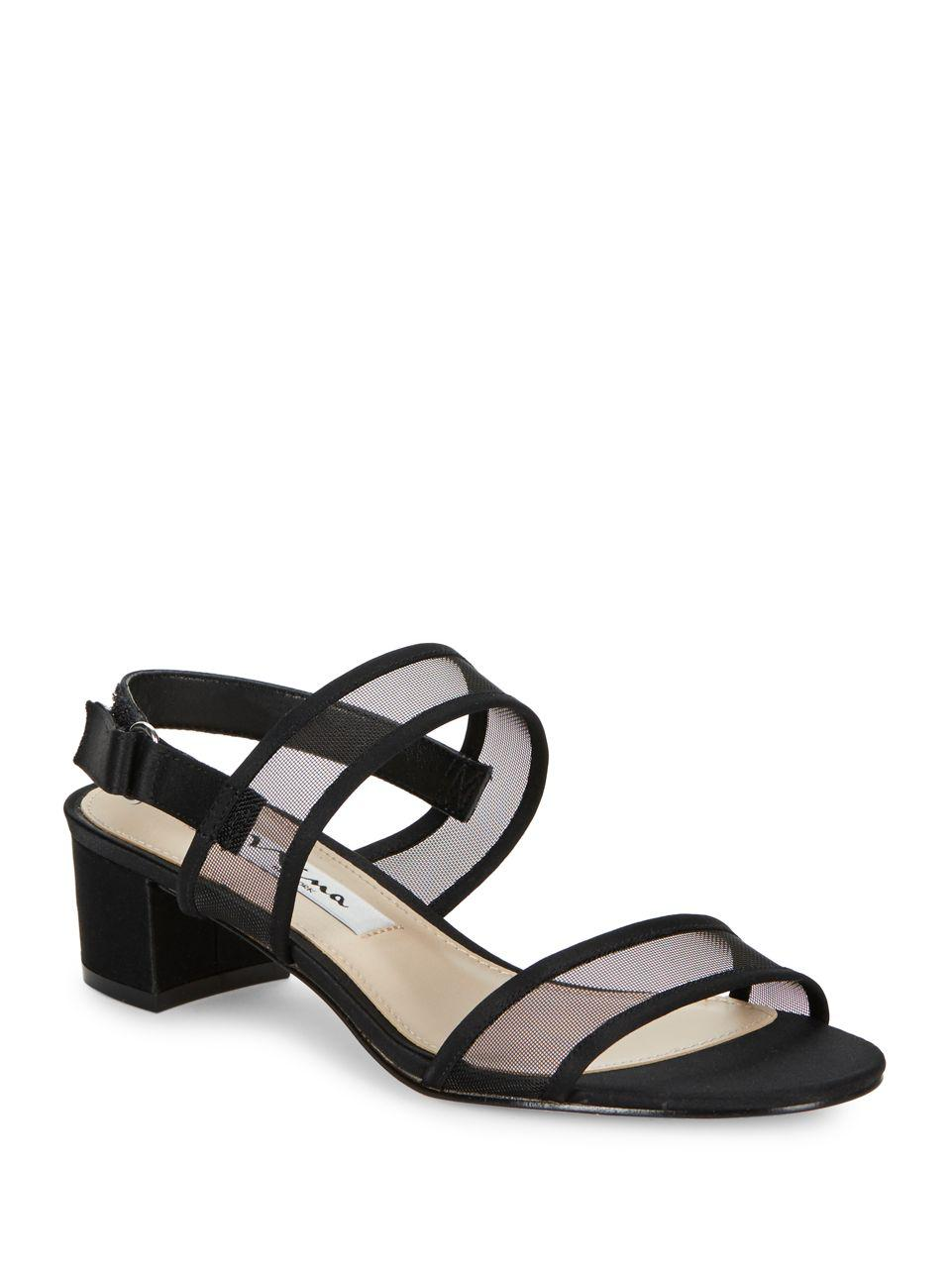 Nina Ganice Mesh & Satin Block Heel Dress Sandals ahhGx3Ao