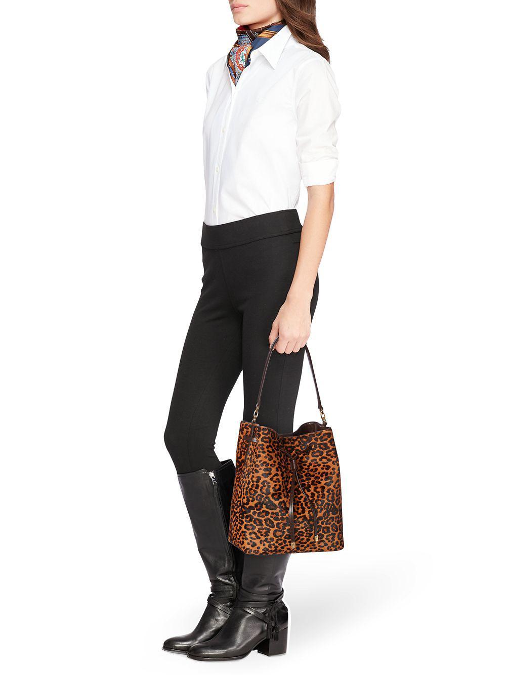 e632a59741 Lauren by Ralph Lauren - Brown Leopard Print Calf Hair Debby Drawstring Bag  - Lyst. View fullscreen