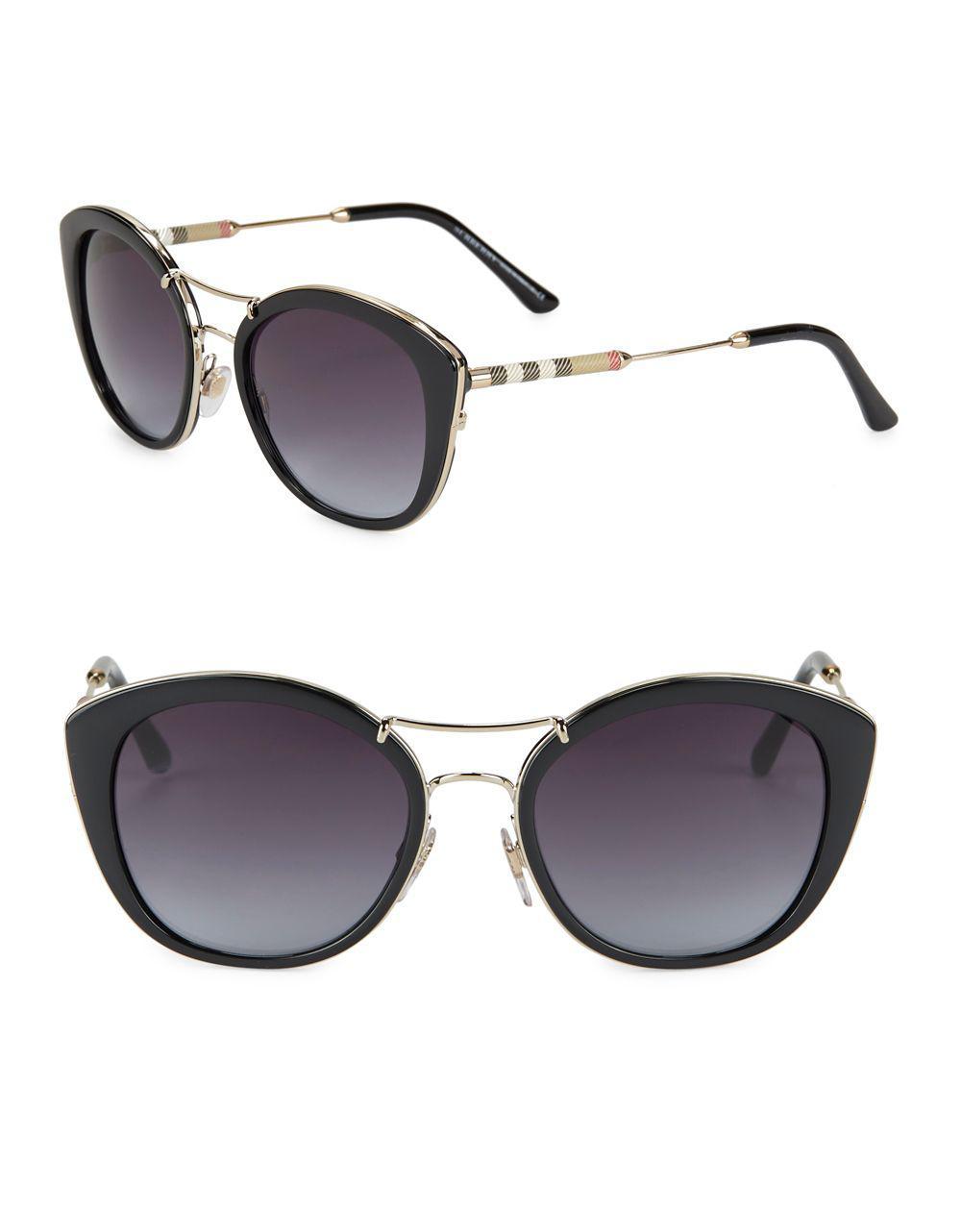 525fba21a3 Lyst - Burberry 53mm Cat Eye Sunglasses in Black