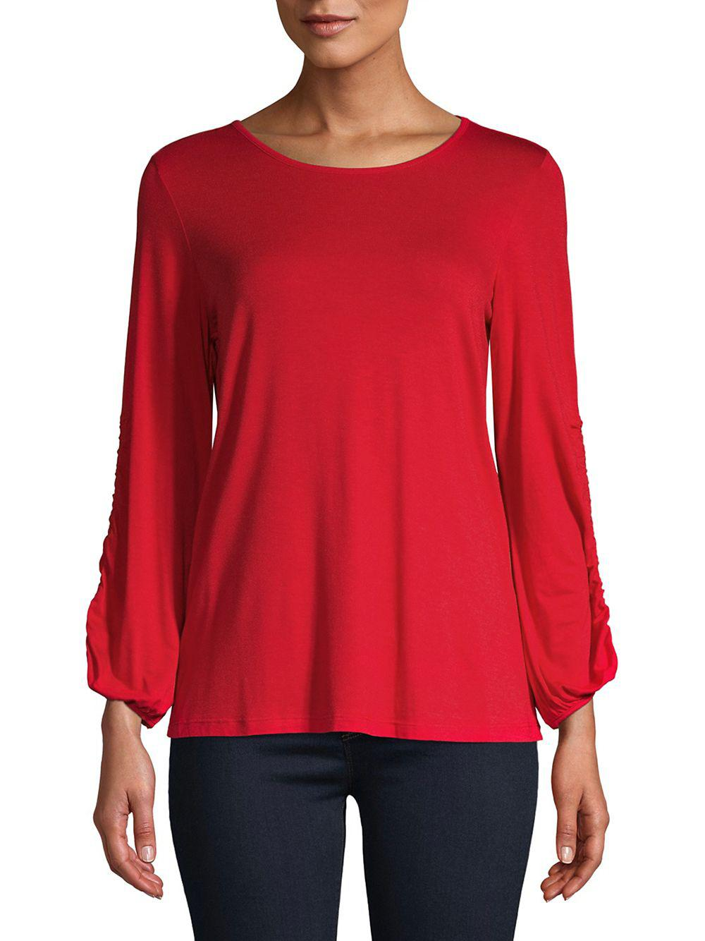 83c2f939dee0c Lyst - Lord   Taylor Drawstring-sleeve Heathered Top in Red