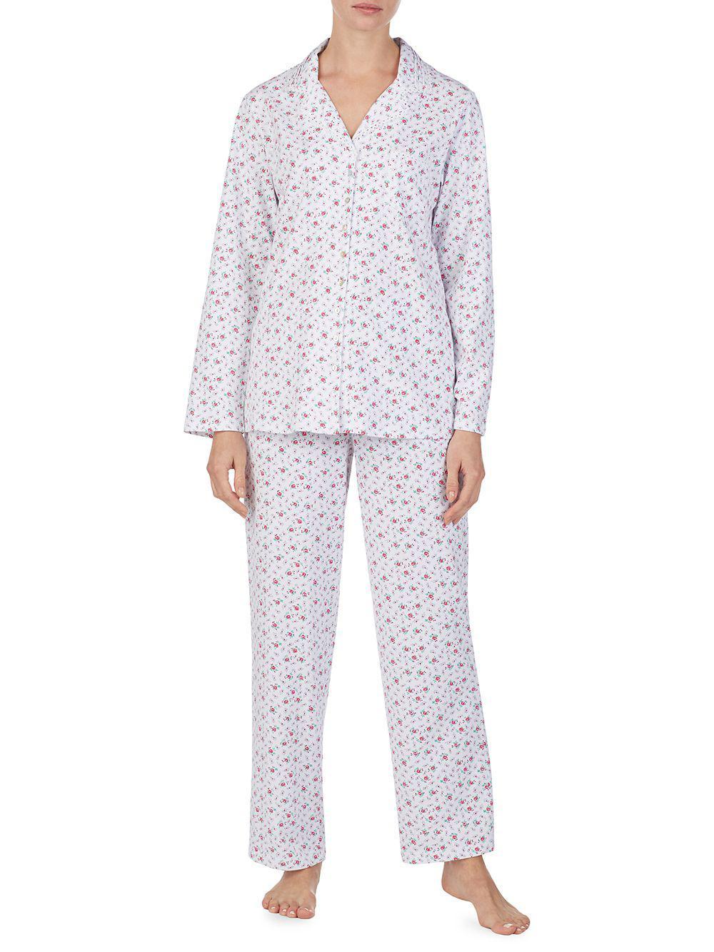 Eileen West. Women s Long-sleeve Floral Pajama Set 08be1d8e0