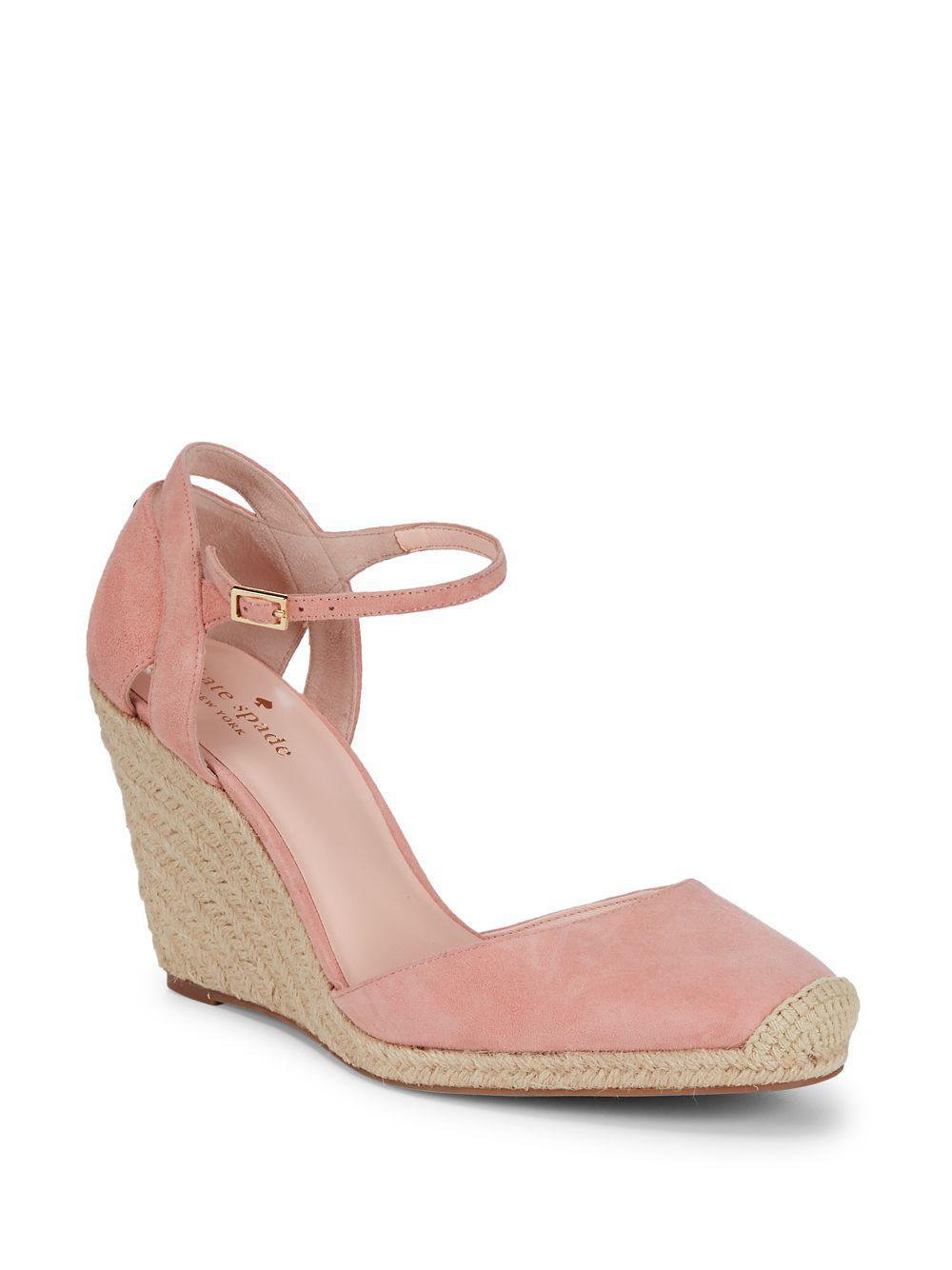7e8f6b482bd Kate Spade Pink Giovanna Espadrille Wedge Sandals