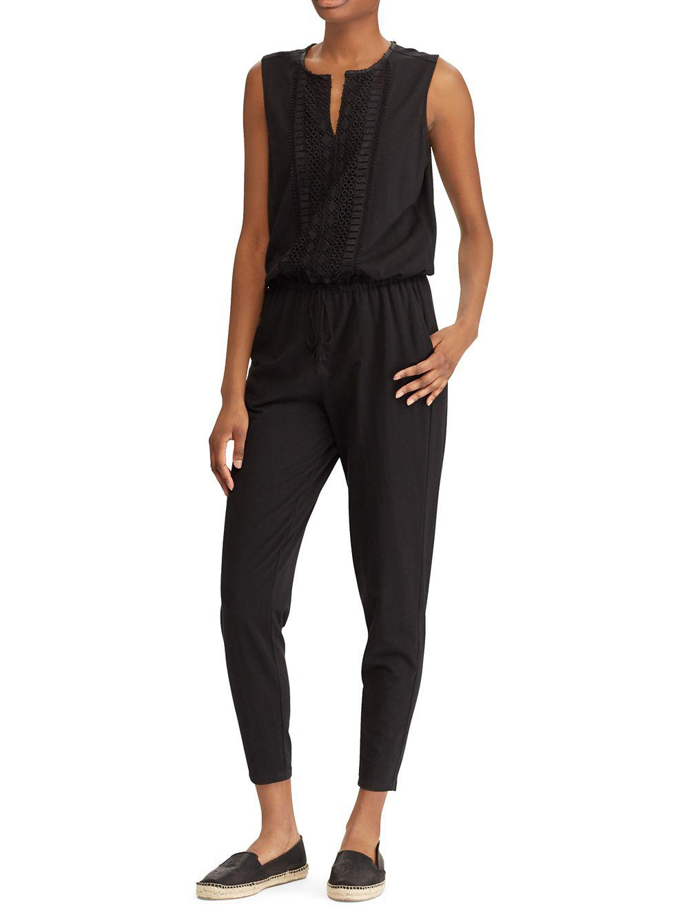 f28d7a79c98 Lyst - Lauren By Ralph Lauren Skinny Jersey Jumpsuit in Black