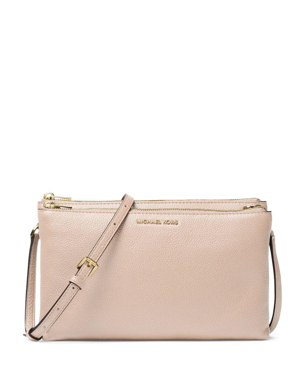0fd79d394062 Michael Michael Kors Double Zip Leather Crossbody Bag in Pink - Lyst