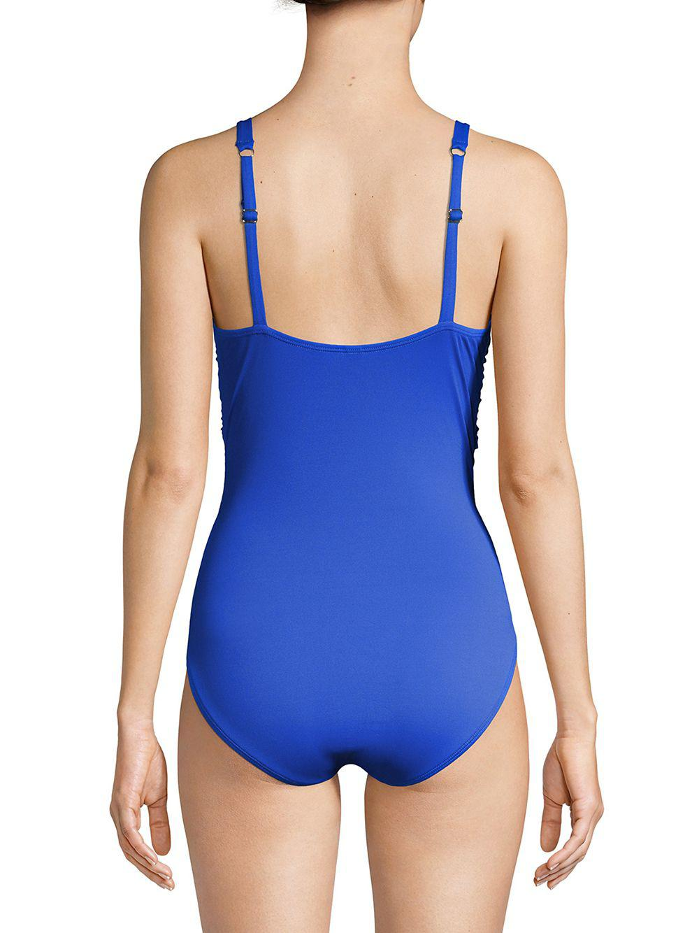 69f6380aac97b Tommy Bahama - Blue Pearl Solids Cross Front One-piece Swimsuit - Lyst.  View fullscreen