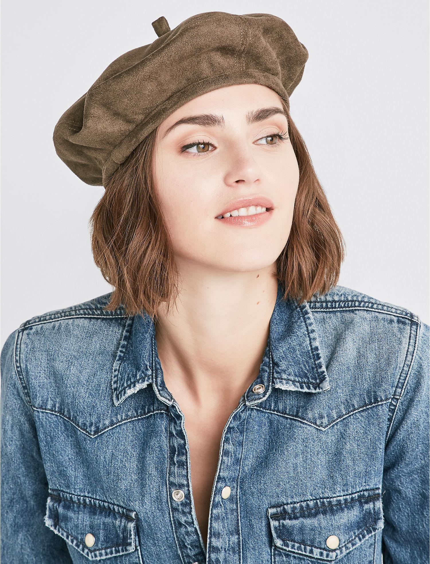 723965cdb14ee https   www.lyst.com accessories lucky-brand-faux-suede-beret  2019 ...