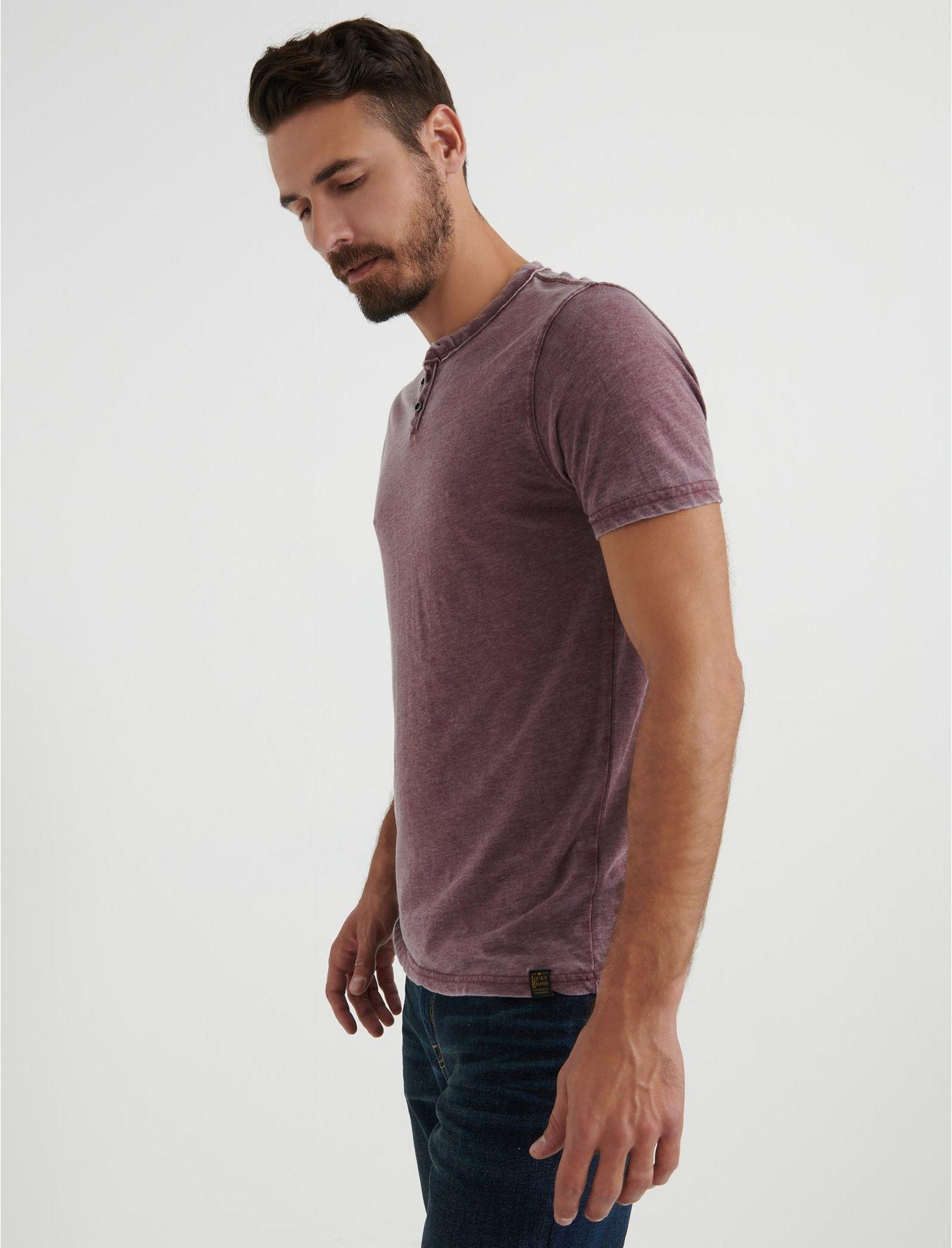 Lucky Brand Mens Venice Burnout Notch Ringer Long Sleeve Shirt Port Royale Purple Red