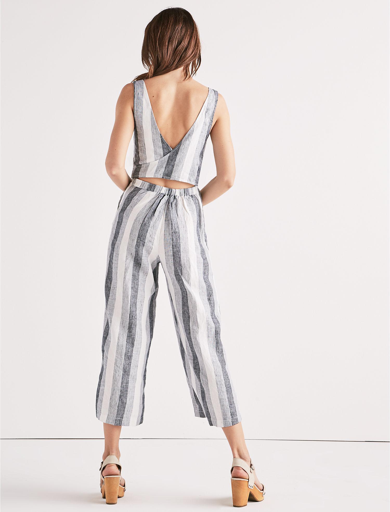 15e839019162 Lyst - Lucky Brand Stripe Tie Back Jumpsuit in Blue