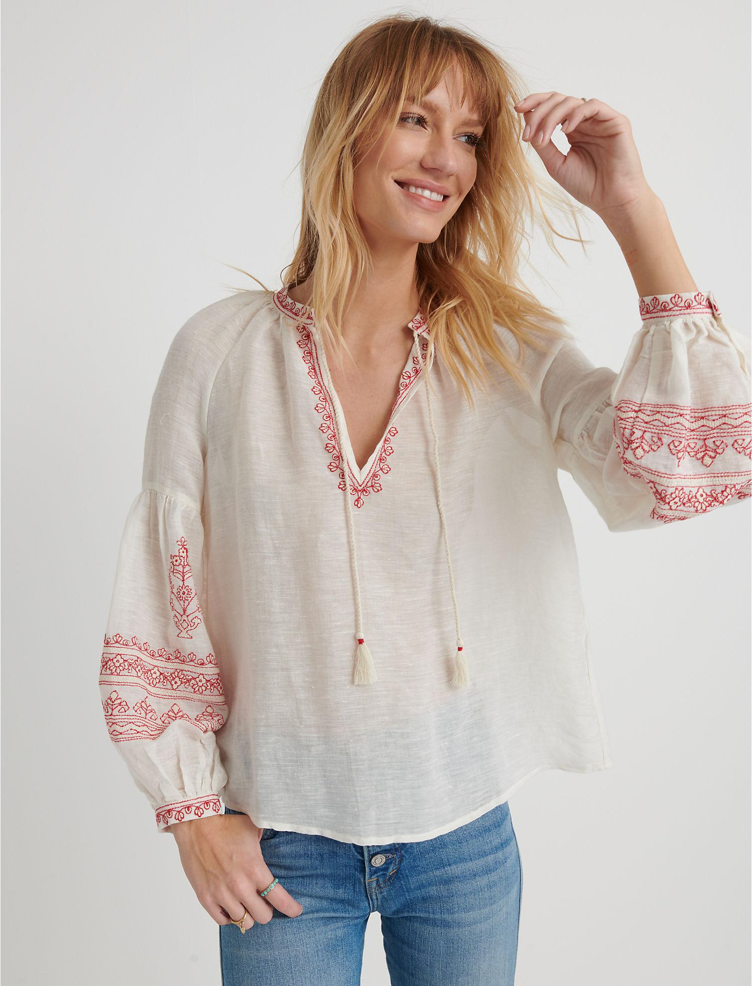 6864b4362937d Lucky Brand. Women s Embroidered Yoke Peasant Top