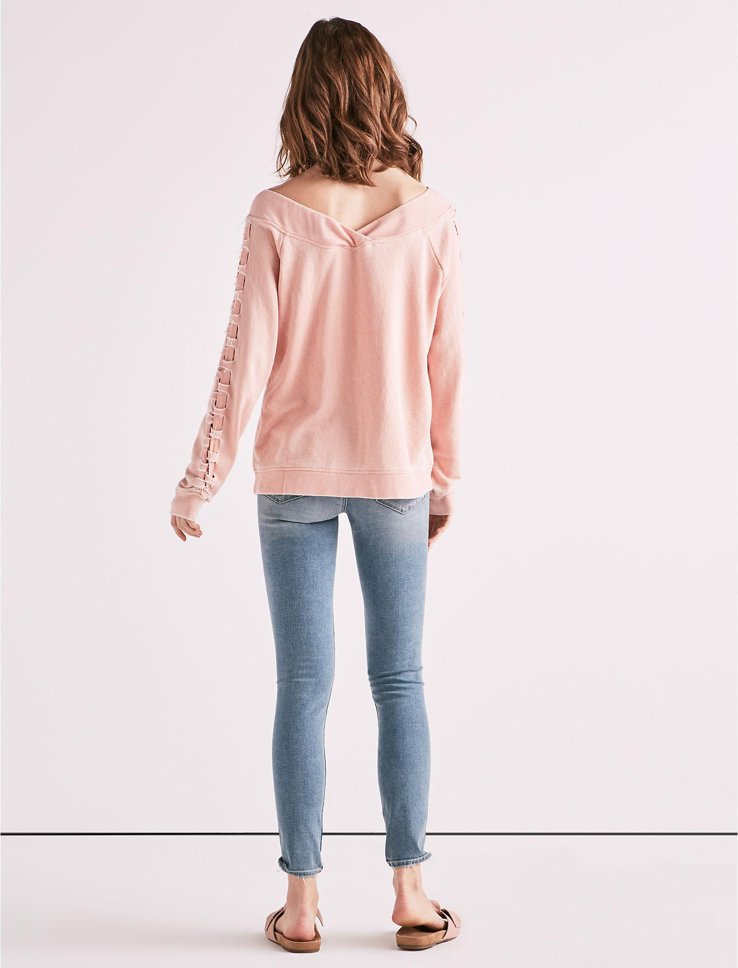 395ad6909cbf6a Lyst - Lucky Brand Lace Up Off The Shoulder Sweatshirt in Pink