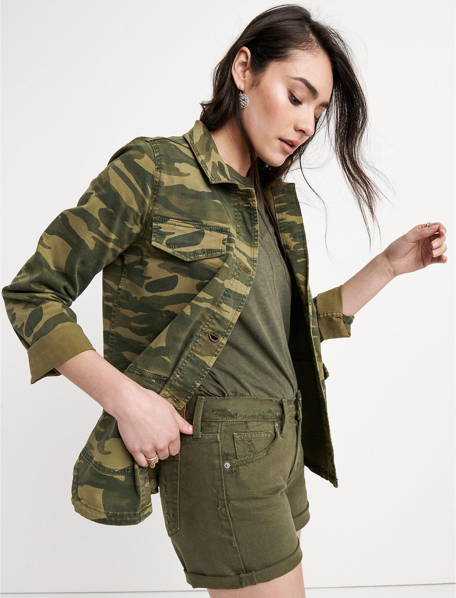 abe317bdb07 Lyst - Lucky Brand Shrunken Utility Camo Jacket in Green