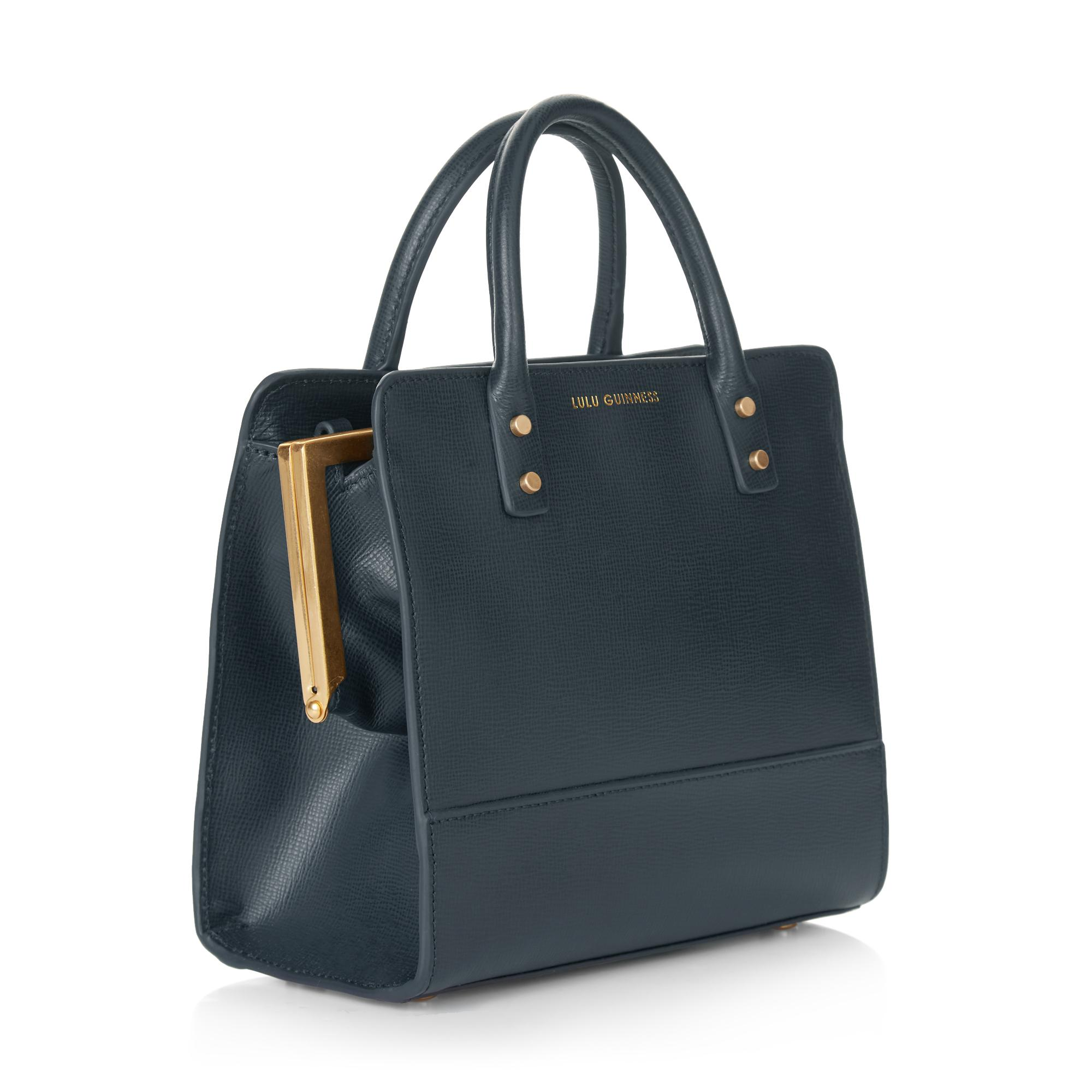 Lyst - Lulu Guinness Navy Textured Leather Mini Square Daphne in Blue 3cda5285d1