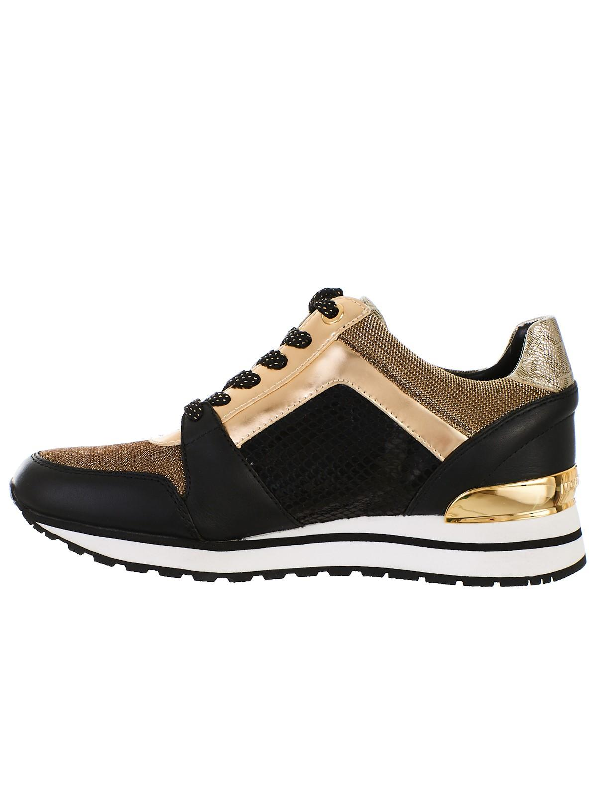 bea33b3bc598 Lyst - MICHAEL Michael Kors Black And Gold Billie Trainer Sneakers in Black  - Save 2%