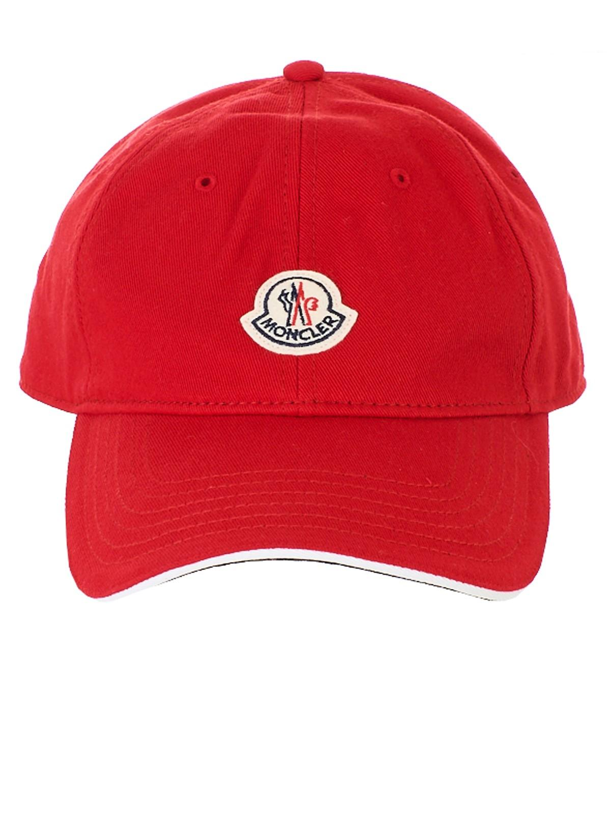2e34d3b0b9cc Lyst - Moncler Logo Patch Cap in Red for Men - Save 52%