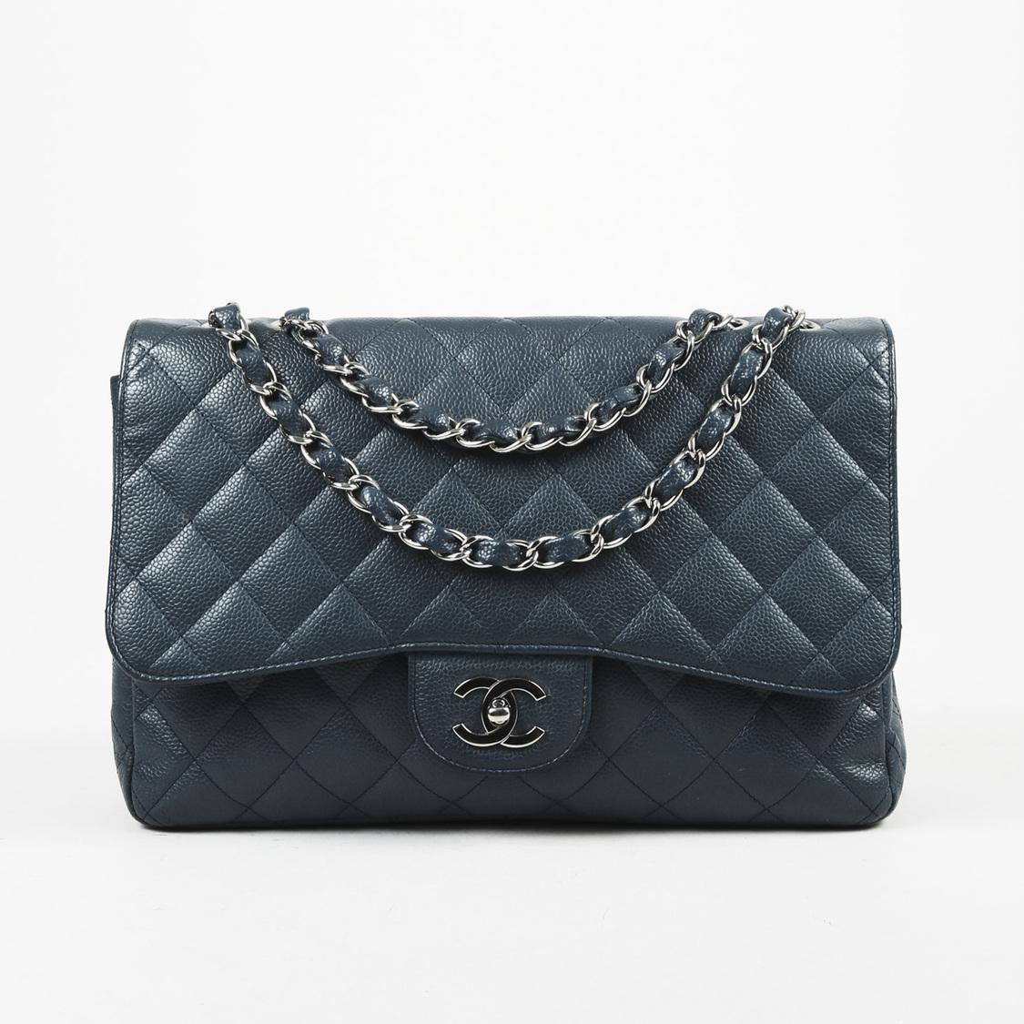 54fa7256f8a0 Lyst - Chanel Quilted Caviar Leather Jumbo Flap Bag in Blue