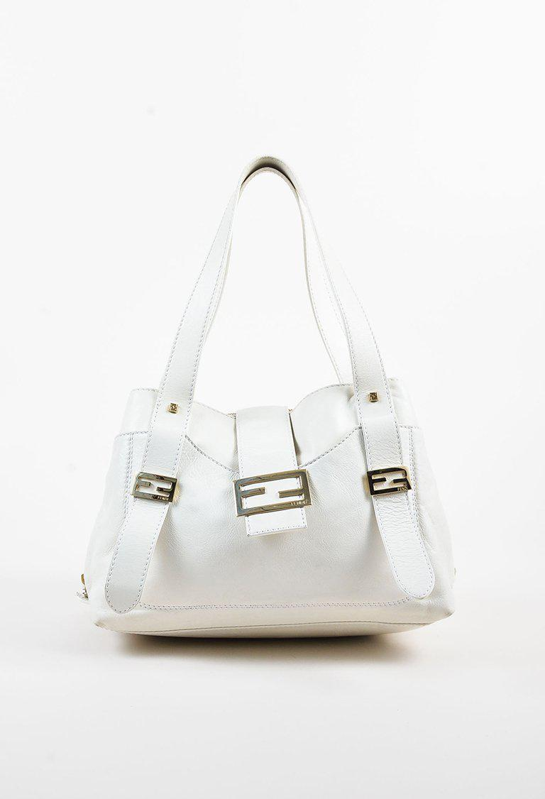 a5add4a324 Lyst - Fendi White Leather Side Zip Tote Bag in White