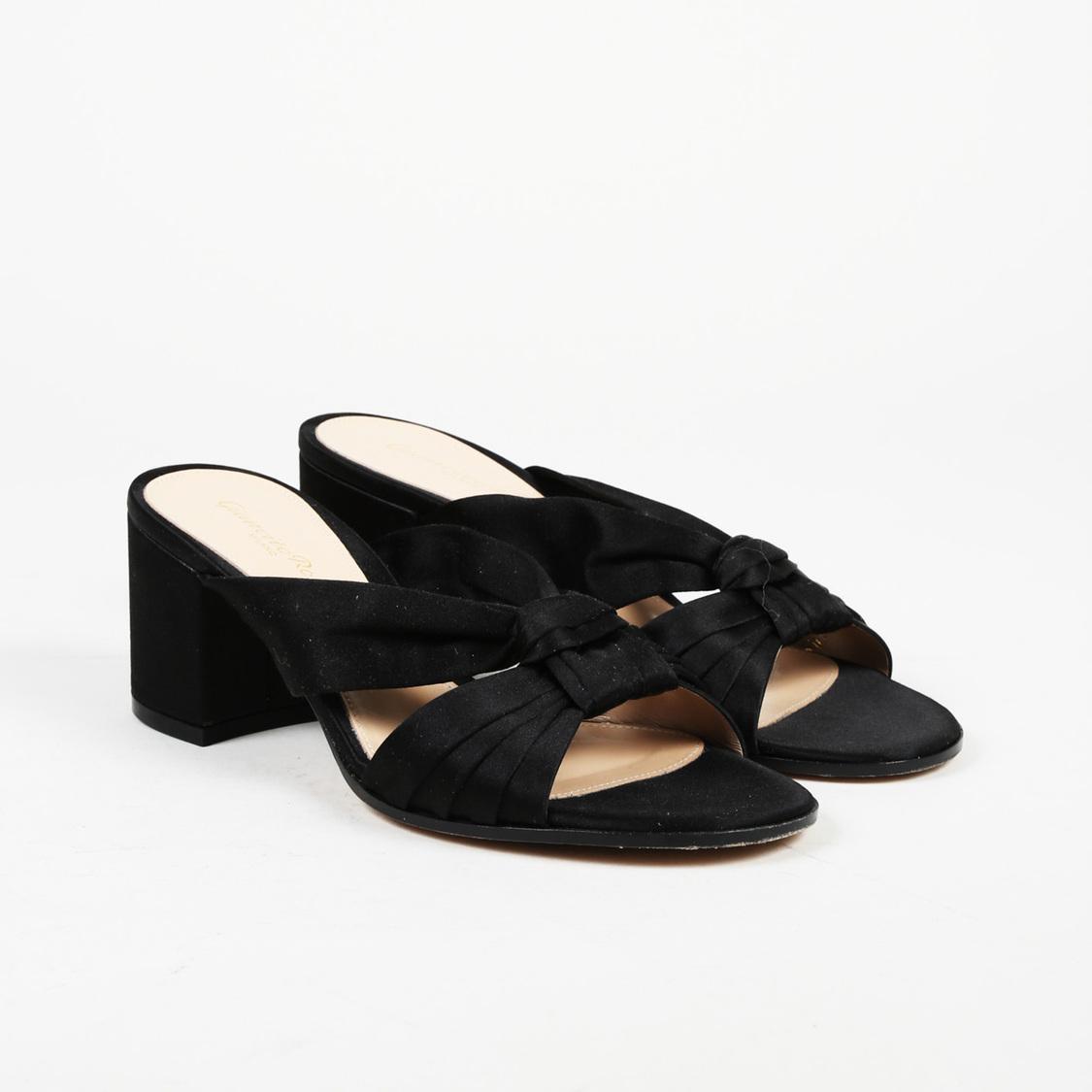 f78818e2f4e9 Lyst - Gianvito Rossi Satin Knotted Slide Sandals in Black