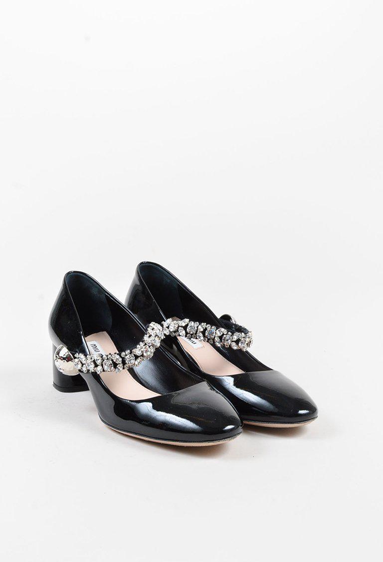 d437feb1fe8d50 Lyst - Miu Miu Black Patent Leather Crystal Embellished Mary Jane ...