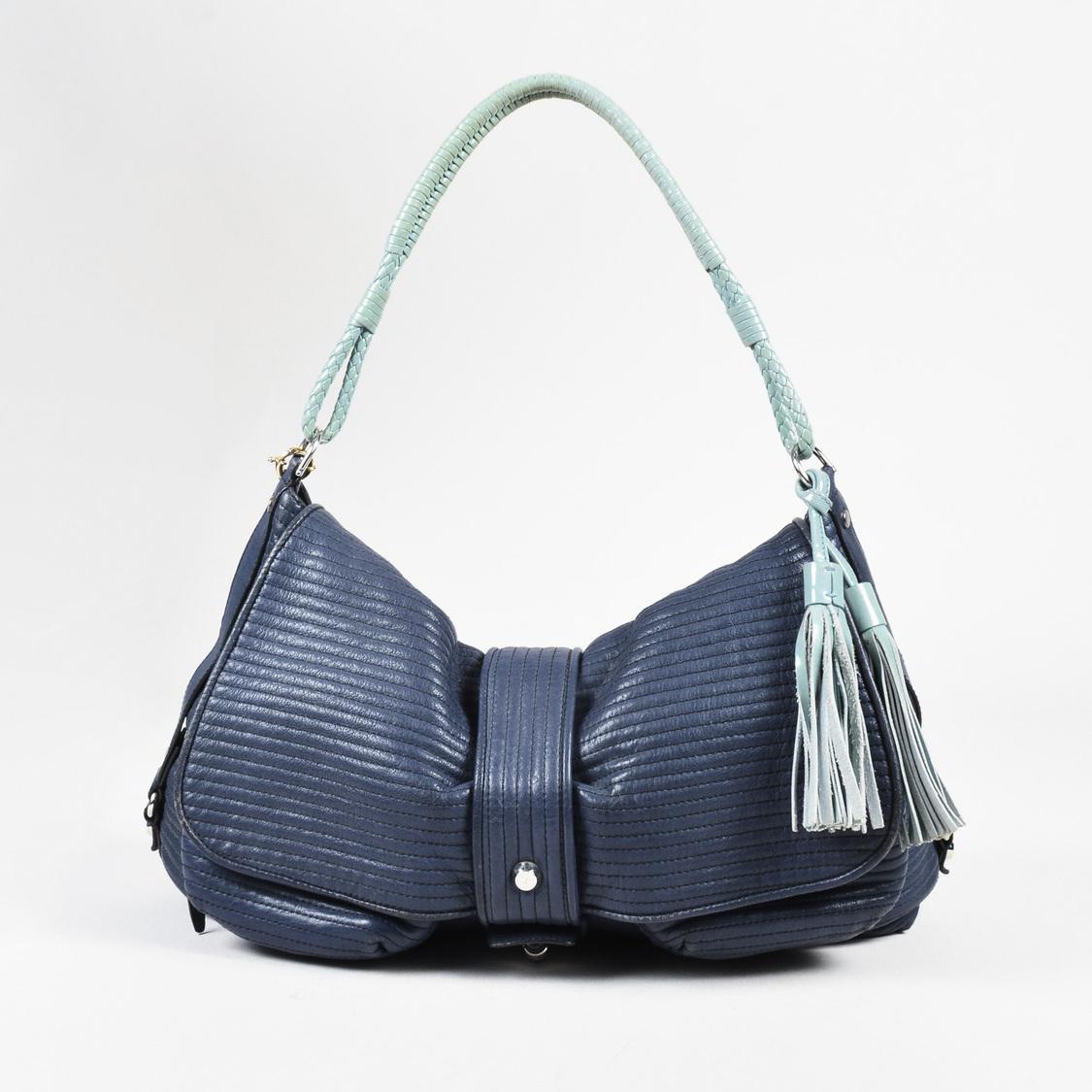 Lanvin Blue   Mint Green Quilted Leather Fringe Tassel Shoulder Bag ... db9509033630b
