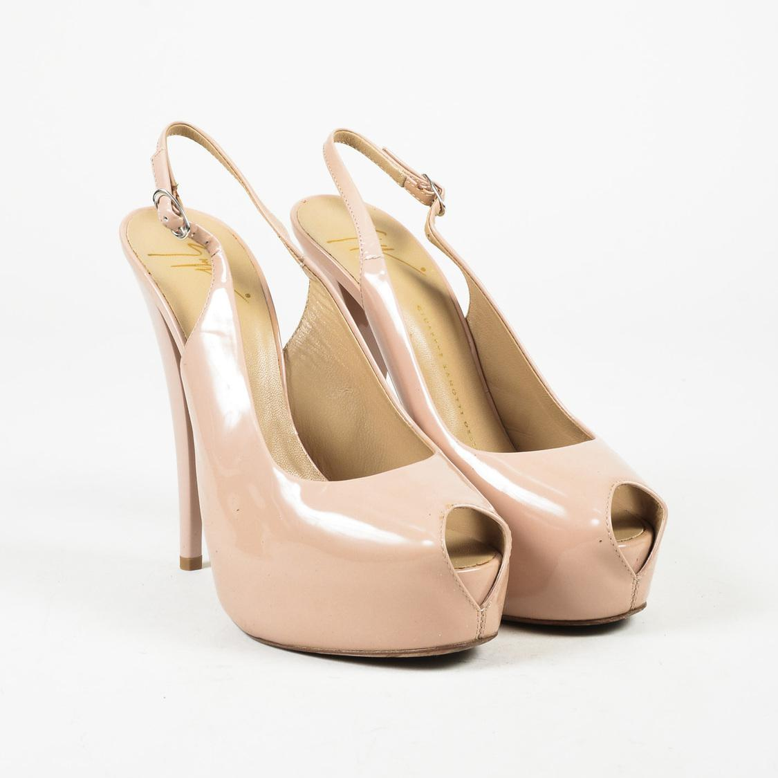 Giuseppe Zanotti Patent Leather Open Toe Pumps - Naked in