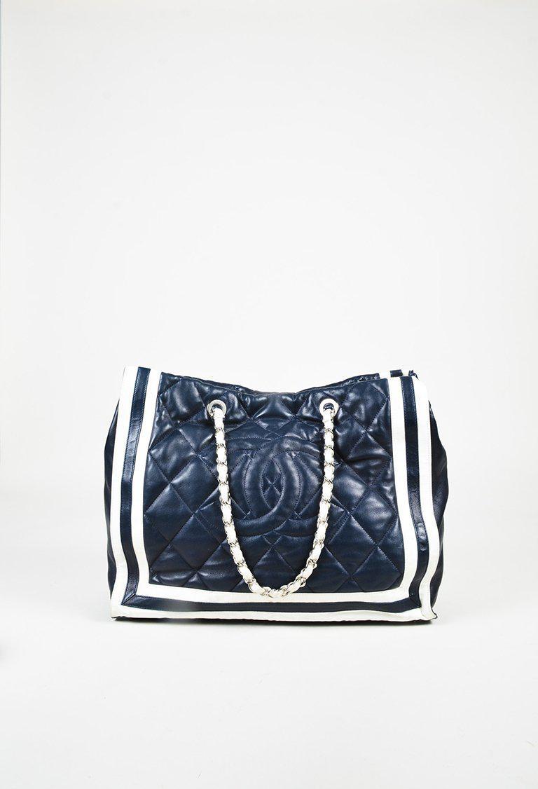 2346f892d04b Chanel Blue & White Lambskin Striped