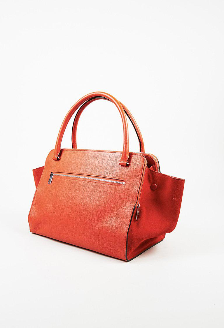 9da8fe9ce573 Lyst - Céline Red Drummed Leather