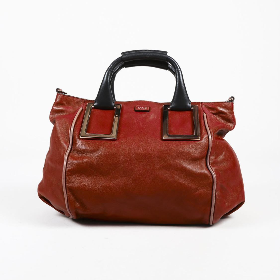 7c24db17b2 Chloé Brown Leather Top Handle Medium