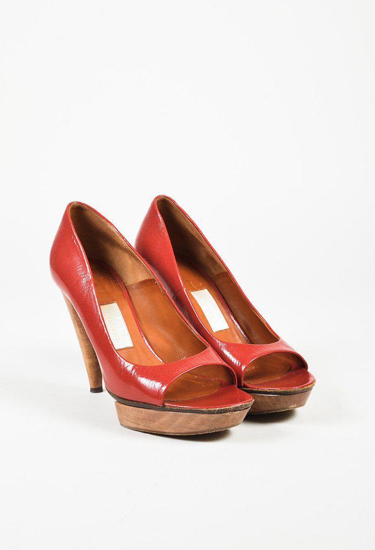 7aa693dab4 Lyst - Lanvin Red Patent Leather Peep Toe Wooden Platform High Heel ...